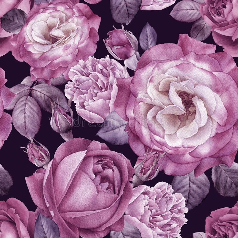 Watercolor roses and peonies. Seamless pattern. Watercolor roses and peonies. Flowers seamless pattern. Floral background for design vector illustration