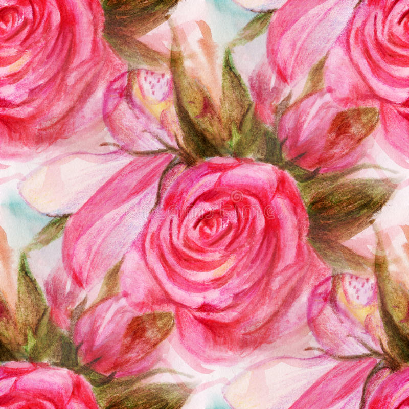 Watercolor roses. Seamless pattern with watercolor roses. Hand-drawn illustration vector illustration
