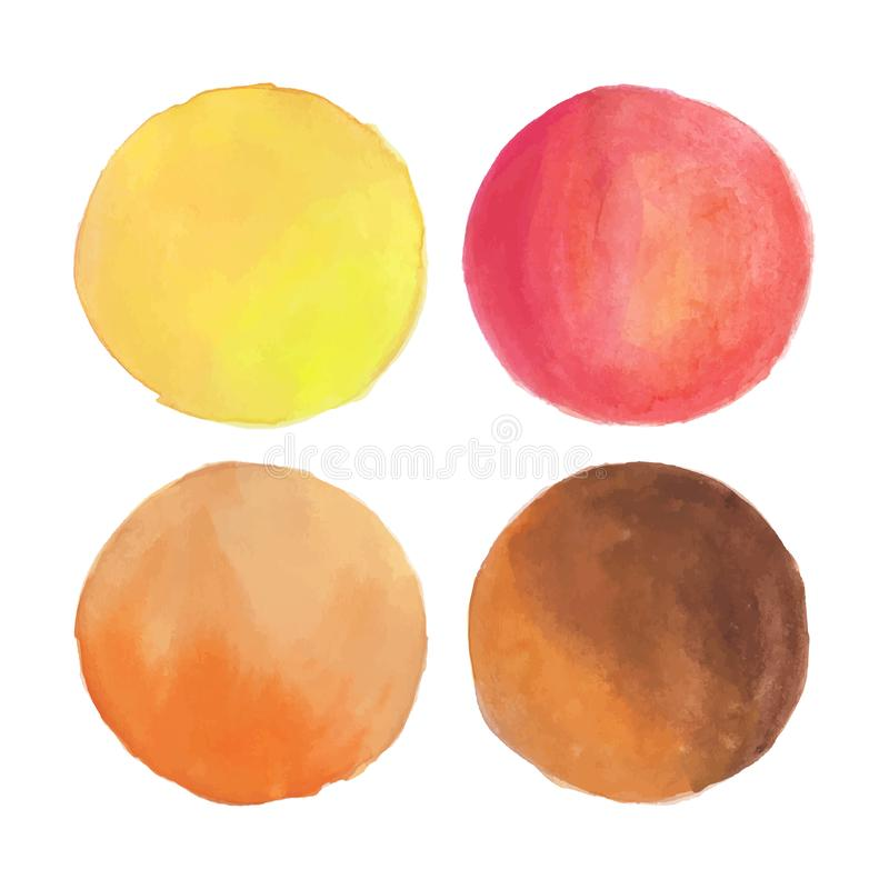 Watercolor Round Circles in Warm Autumn Fall Colors. Vector royalty free illustration