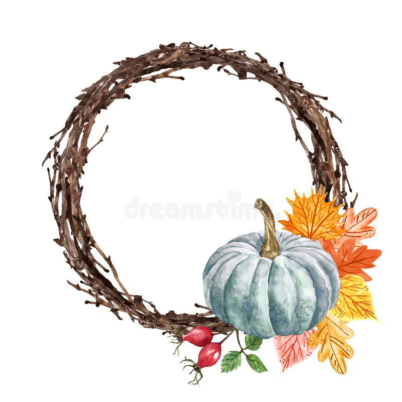 Watercolor autumn wreath, pumpkin, colorful leaves and rosehip berries, isolated on white background. Thanksgiving holiday stock photos