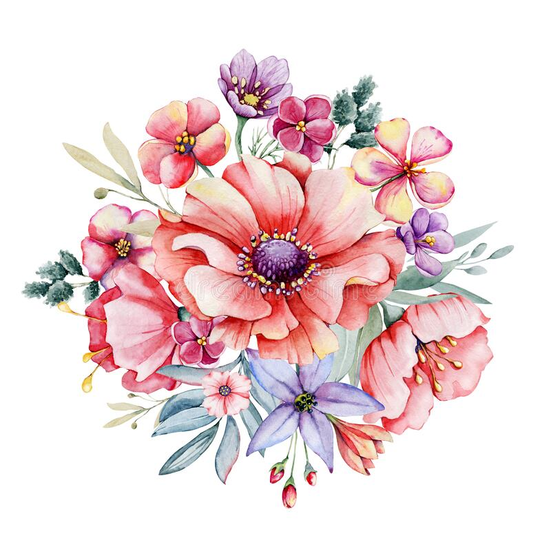 Free Watercolor Round Floral Wreath, Field Meadow Flowers Bouquet. Hand Drawn Illustration Isolated On White Background High Stock Photography - 218770292