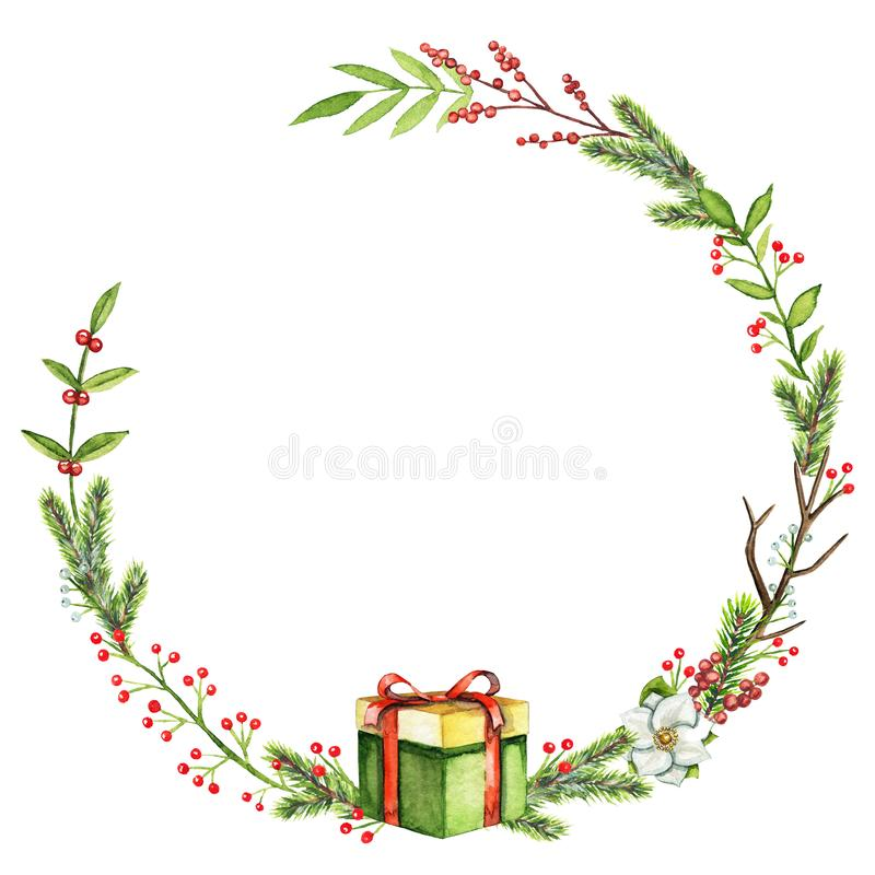 Watercolor round frame with berries, twigs, gift box, leaves and stock illustration