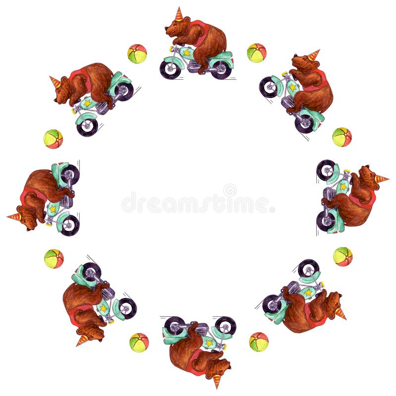 Watercolor round frame with circus bears on motorcycle and colored balls. royalty free illustration