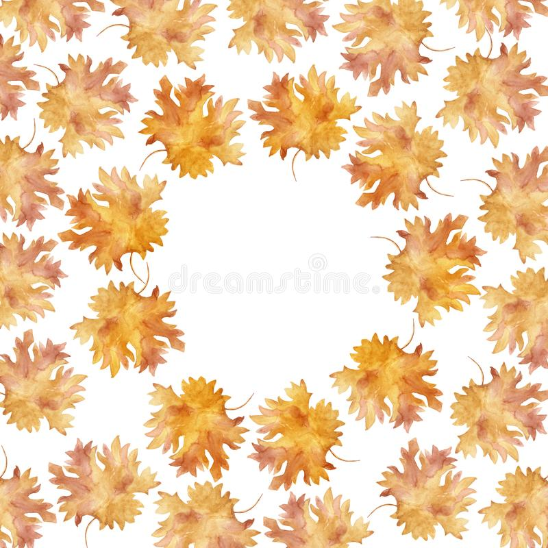 Watercolor round frame colorful autumn maple leaves in a round dance isolated on white background. Flower pattern for beautiful wedding invitation design royalty free illustration