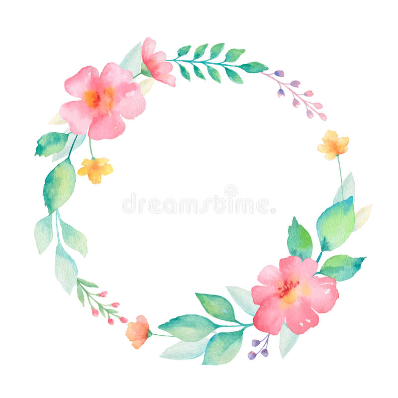 Watercolor round frame of flowers. Ideal for invitations, cards, greetings, wedding design. Perfect for spring and summer design. Vector illustration stock illustration