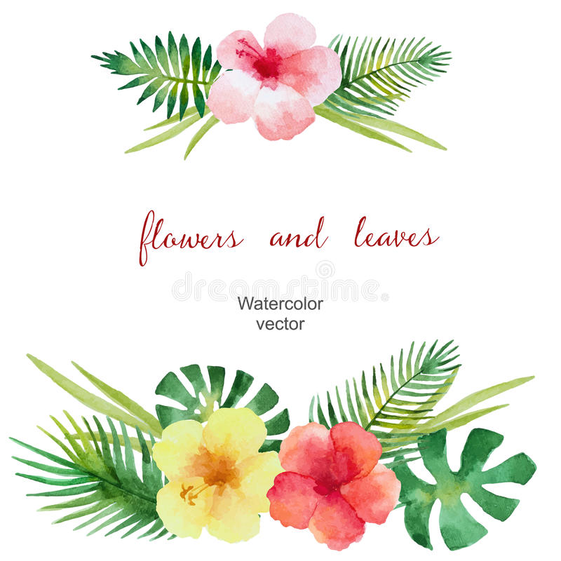 Watercolor round frame. Of green leaves and flowers for your design. Vector illustration royalty free illustration