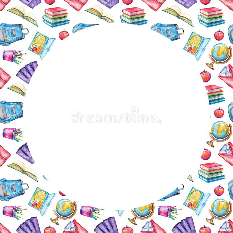 Watercolor Round Frame With School Subjects Stock Illustration ...