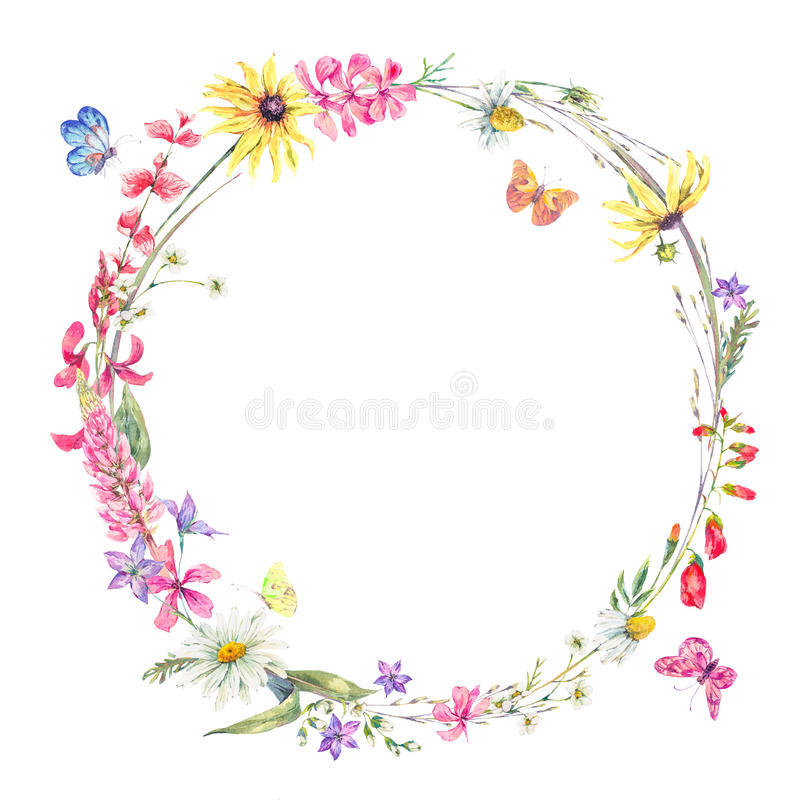Watercolor round frame with wildflowers vector illustration