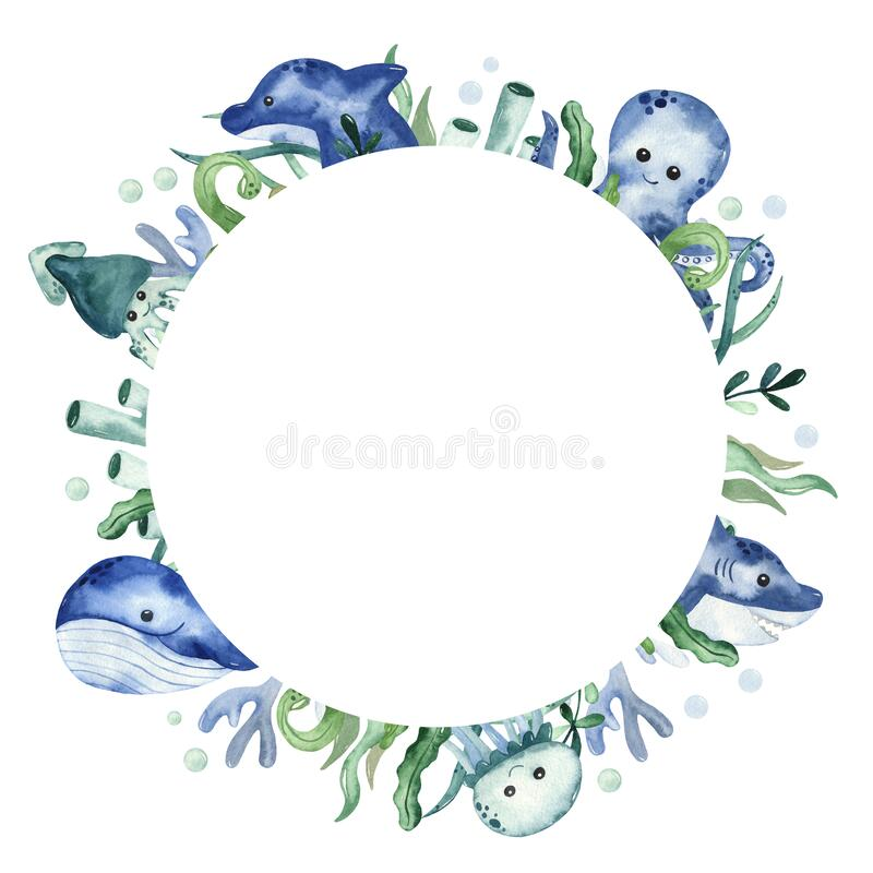 Free Watercolor Round Frame With Sea Creatures, Fish, Algae And Corals Royalty Free Stock Images - 183613089