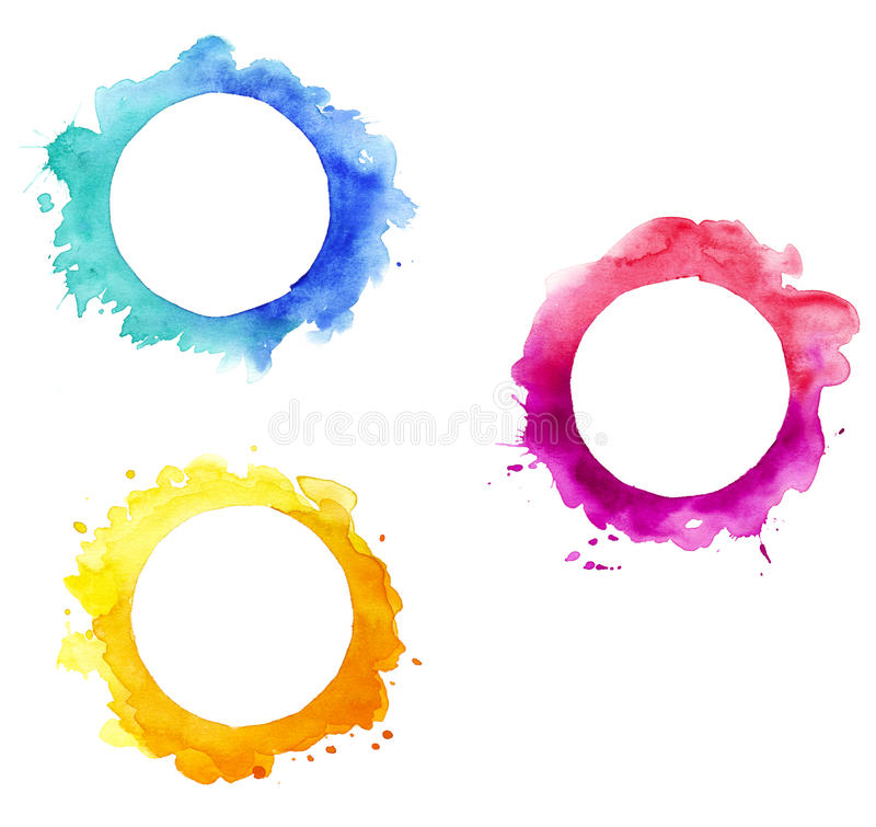 Watercolor round frames. Design isolated vector illustration