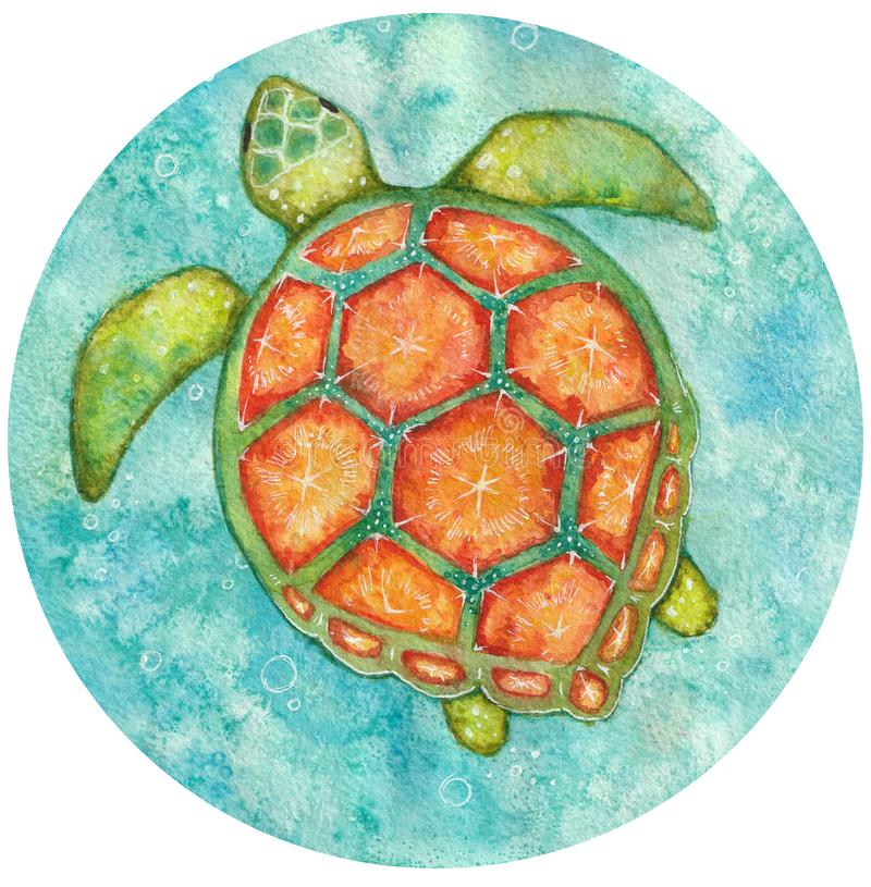 Watercolor round illustration of see turtle from above stock photography