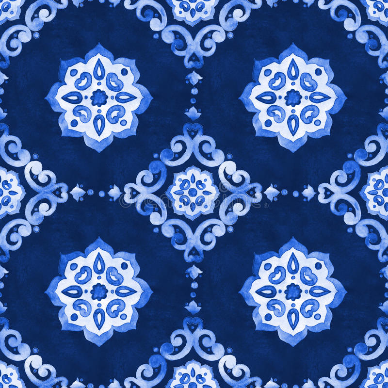Watercolor royal blue filigree seamless pattern stock illustration