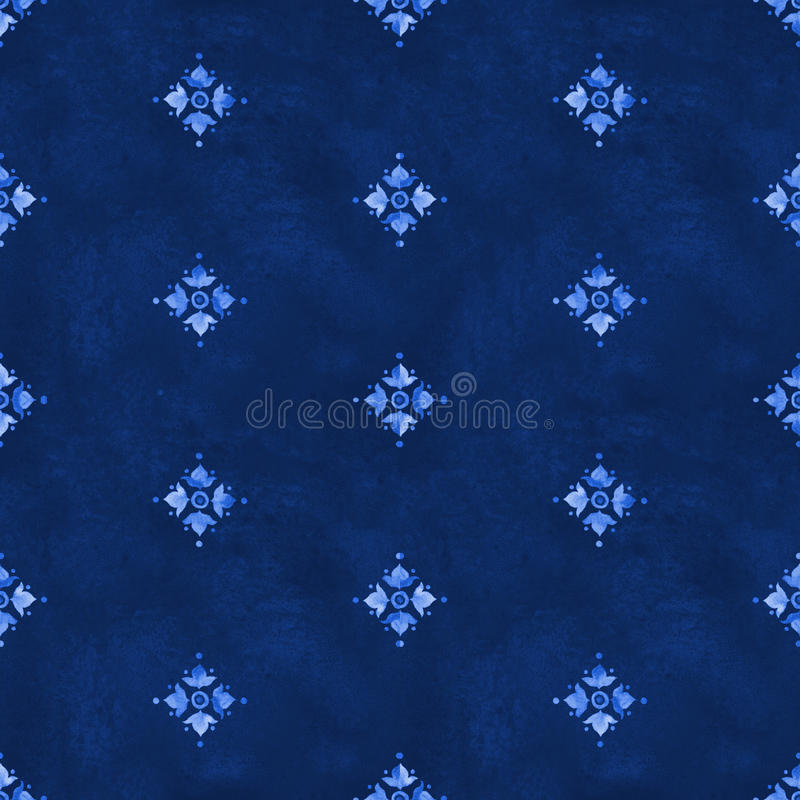 Watercolor royal blue velour revival seamless pattern royalty free illustration