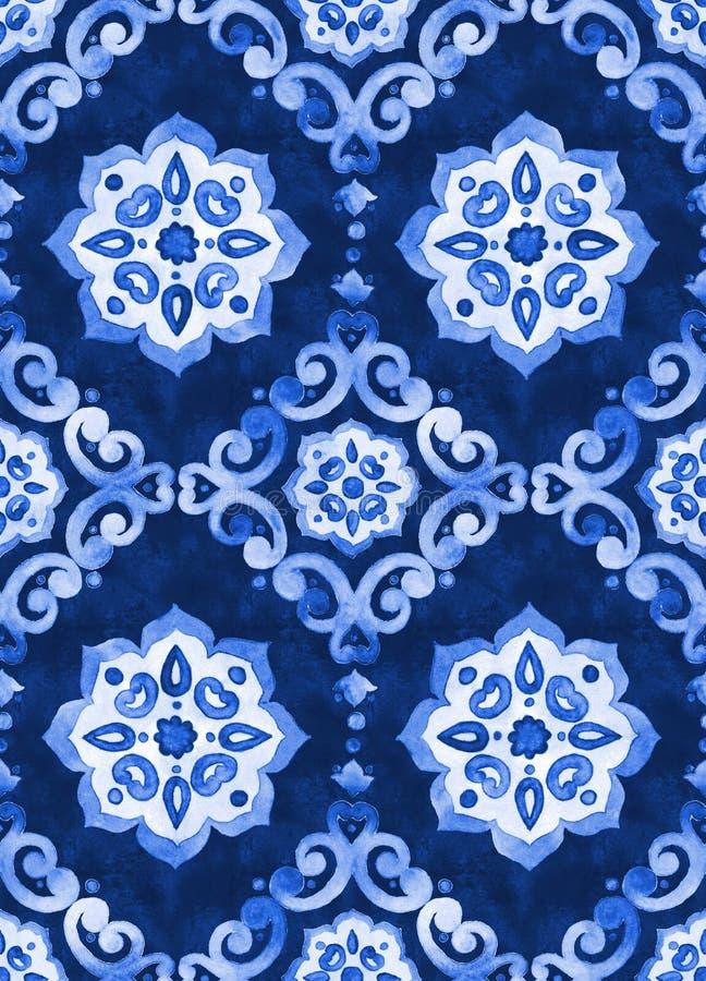 Watercolor royal blue velour seamless pattern stock illustration