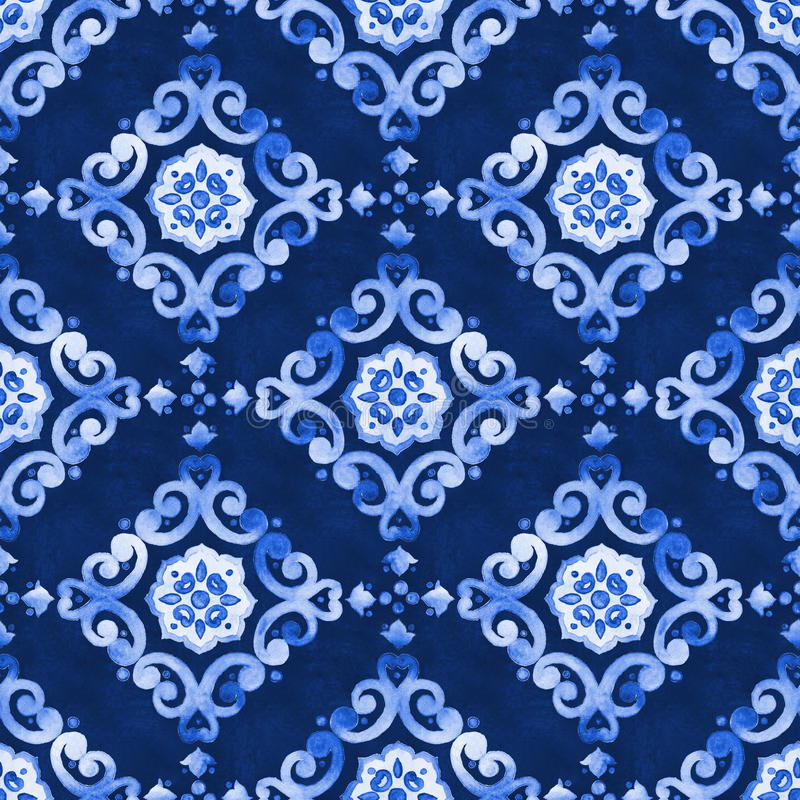 Watercolor royal blue velour seamless pattern. Renaissance tiling ornament. Delicate filigree openwork lace pattern. Blue velvet revival tracery design. Denim royalty free stock image