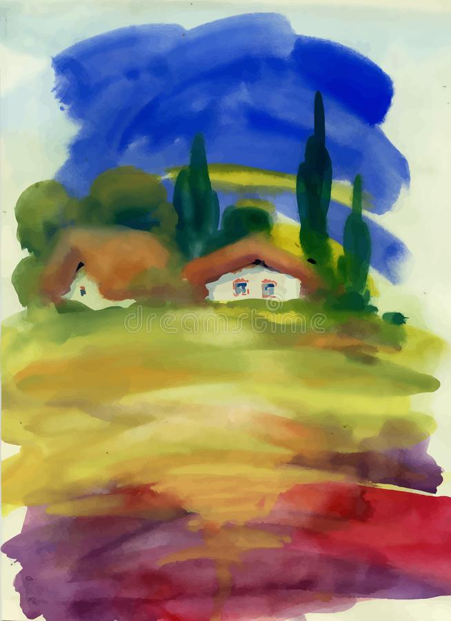 Watercolor rural house in green summer day illustration. royalty free illustration