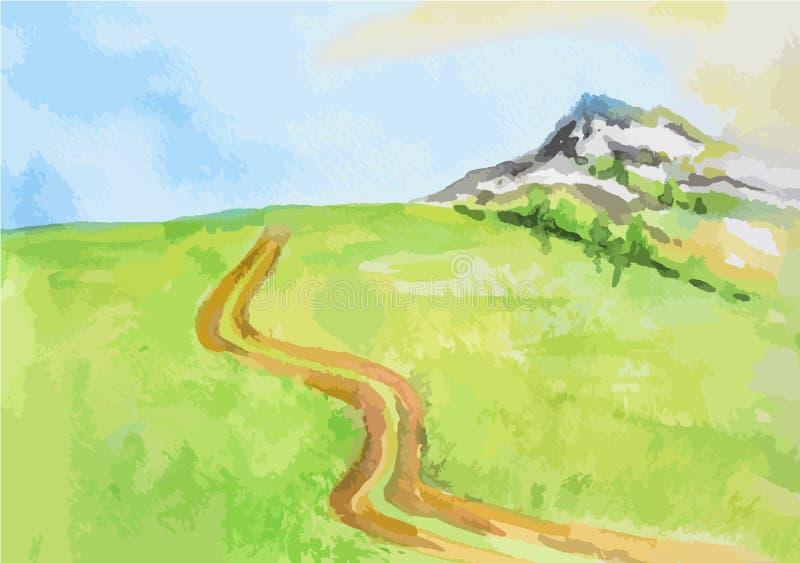Watercolor rural landscape. royalty free illustration