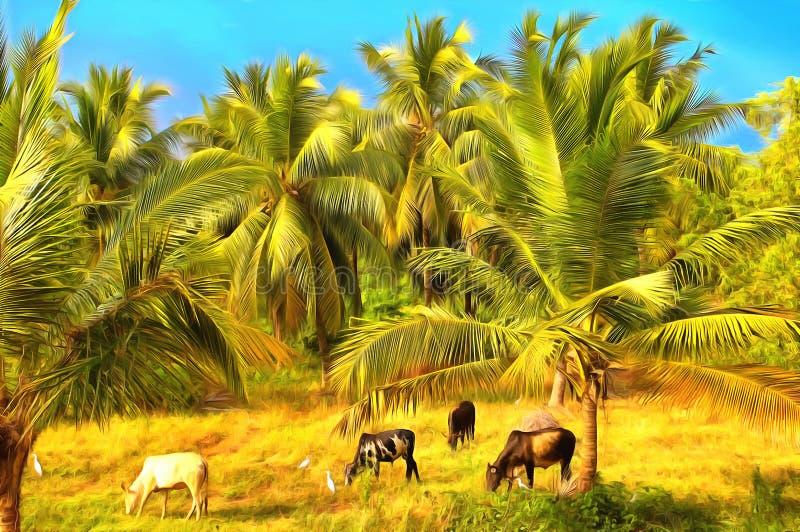 Watercolor rural landscape. Indian village vector illustration
