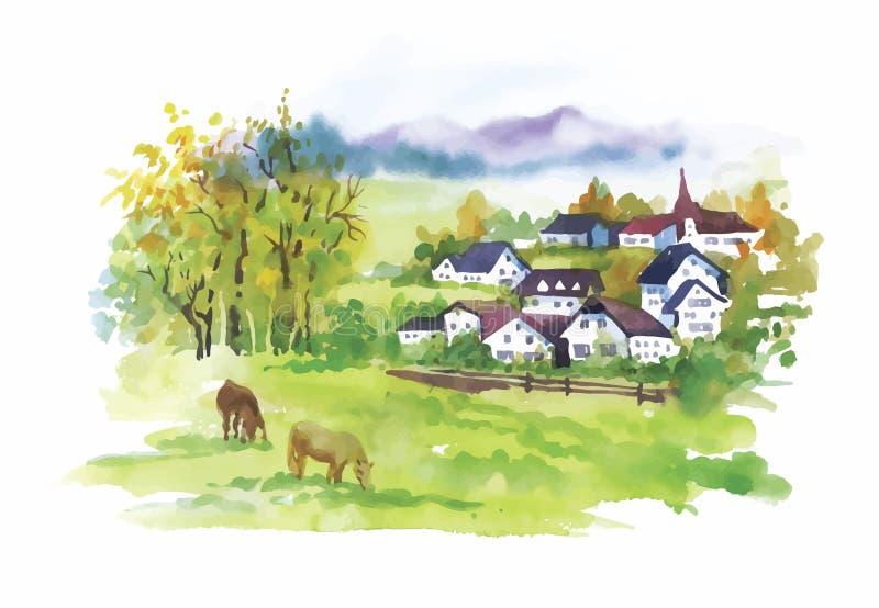 Watercolor rural village in green summer day illustration royalty free illustration