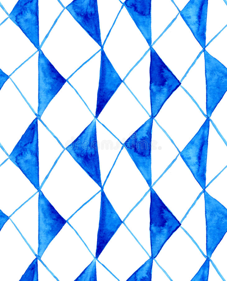 Watercolor rustic blue rhombuses pattern royalty free illustration