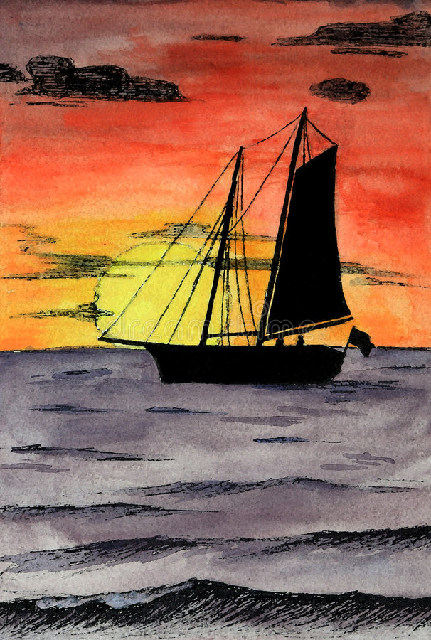 Watercolor sailboat on ocean sunset royalty free illustration