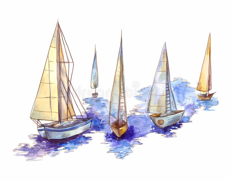 Vector watercolor sailboat regatta  isolated on white. Seascape scene in sketch style. Watercolor sailboat regatta scene in sketch style. Seascape illustration royalty free stock photo