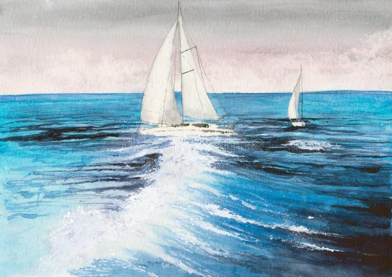 Watercolor sailboat royalty free illustration