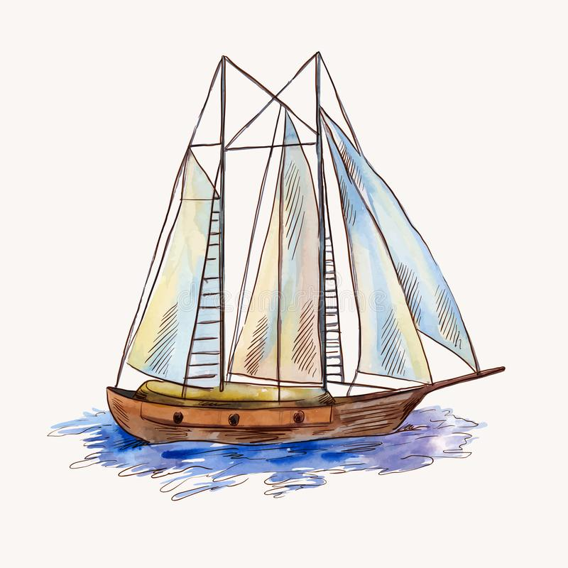 Vector watercolor sailing ship isolated on white. Seascape scene in sketch style. Watercolor sailing ship in sketch style. Seascape illustration, sailboat on royalty free stock photos