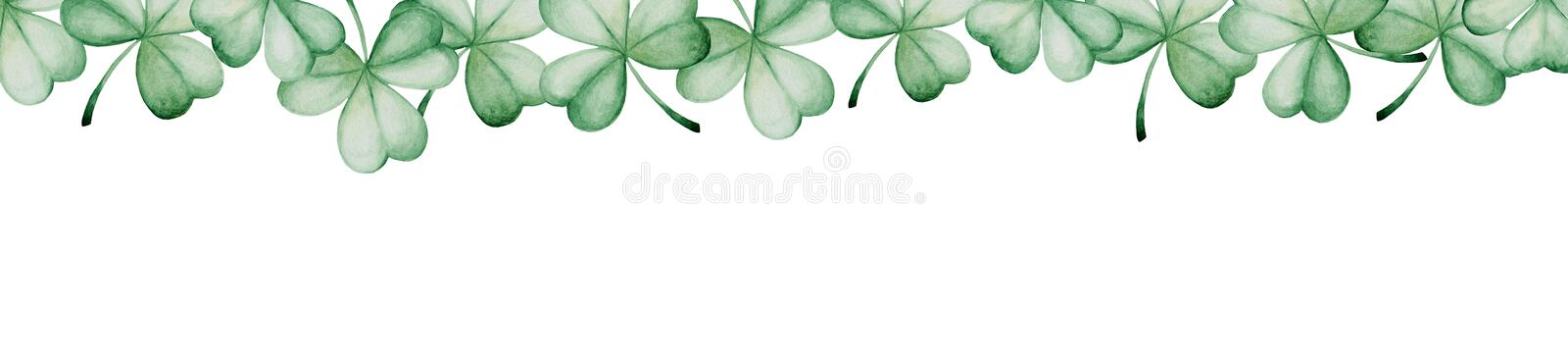 Watercolor Saint Patrick`s Day banner. Clover ornament. For design, print or background stock illustration