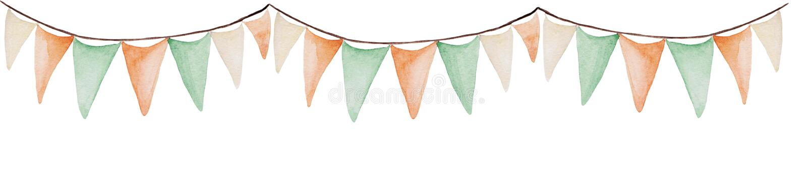 Watercolor Saint Patrick`s Day banner. Flags ornament. For design, print or background stock illustration