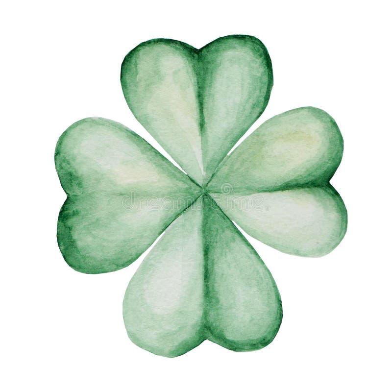 Watercolor Saint Patrick`s Day illustration. Clover ornament. For design, print or background.  vector illustration