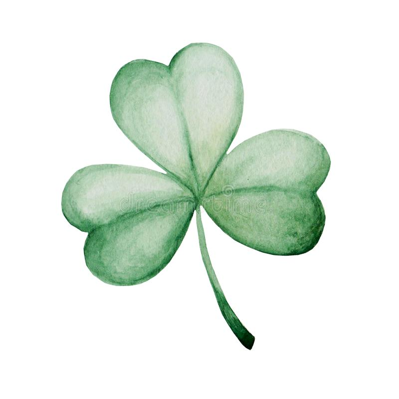 Watercolor Saint Patrick`s Day illustration. Clover ornament. For design, print or background.  royalty free illustration