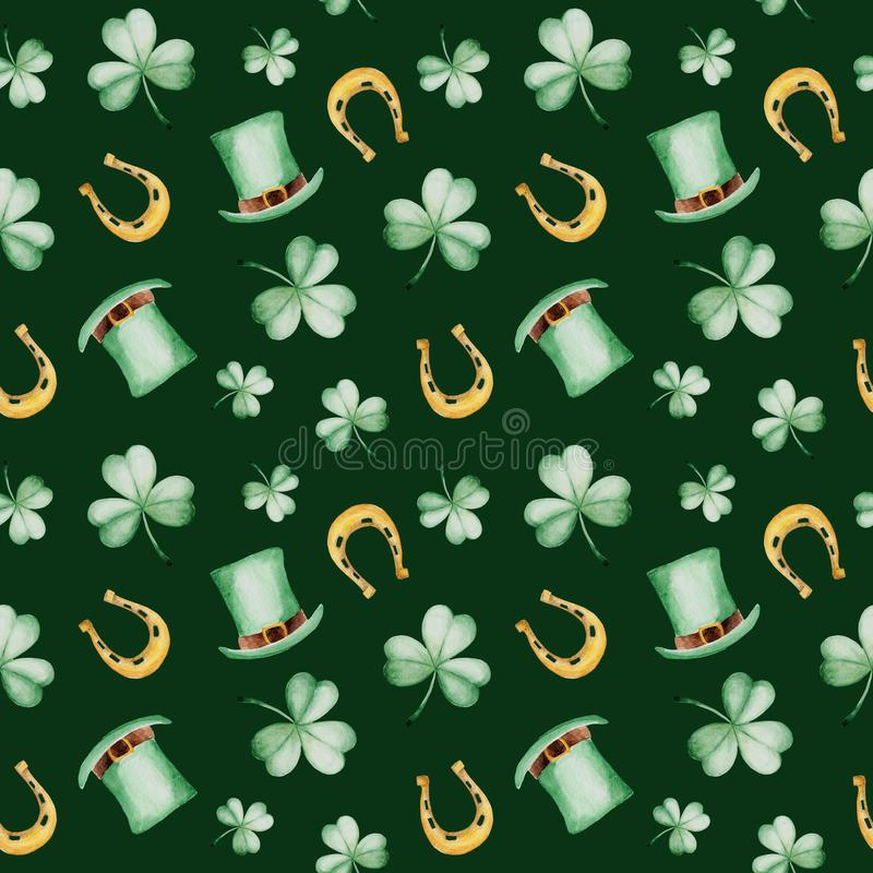 Watercolor Saint Patrick`s Day pattern with horseshoe and hat. Clover ornament. For design, print or background vector illustration