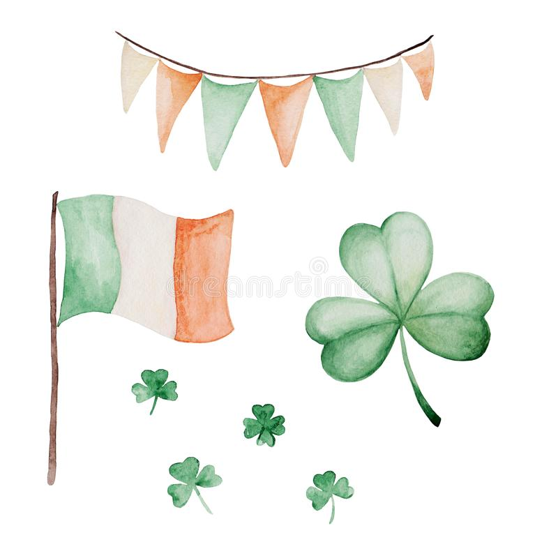 Watercolor Saint Patrick`s Day set. Clover ornament. For design, print or background.  royalty free illustration