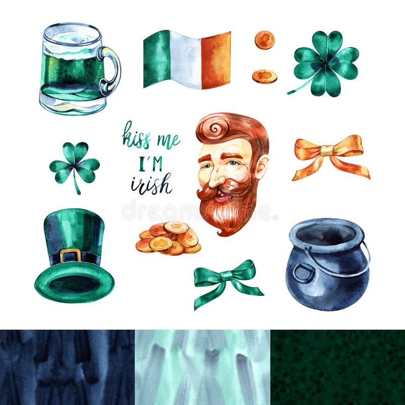 Watercolor Saint Patrick`s Day set. Hand drawn artistic objects: leprechaun, clover shamrock, hat, pot of gold, rainbow vector illustration