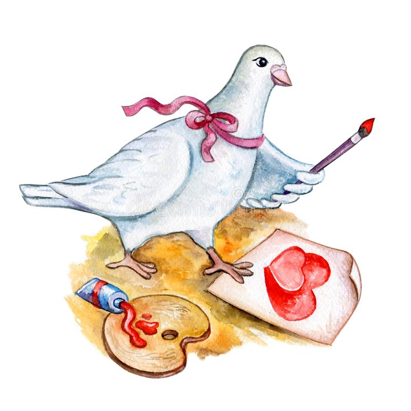 Watercolor Saint Valentines greeting card template for web, print. White cartoon style dove drawing two red hearts with paint. vector illustration