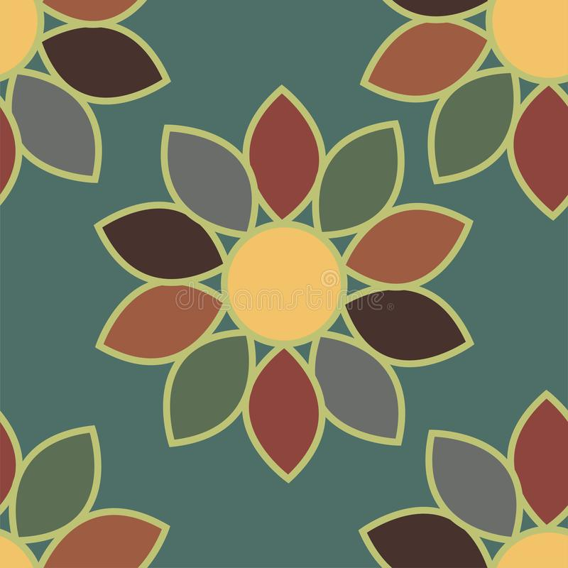 Watercolor samless floral pattern, abstract scarlet flowers. Vector illustration.  stock illustration