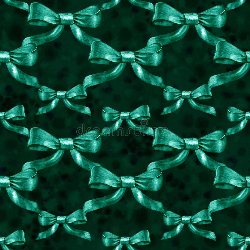Watercolor satin green bow seamless pattern on white background. vector illustration