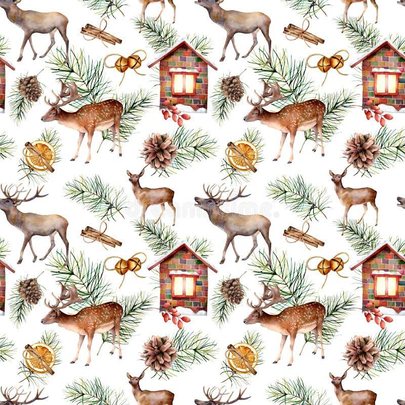 Watercolor scandinavian pattern with deers. Hand painted house, deers, pine branch with cones, orange, cinnamon stick vector illustration