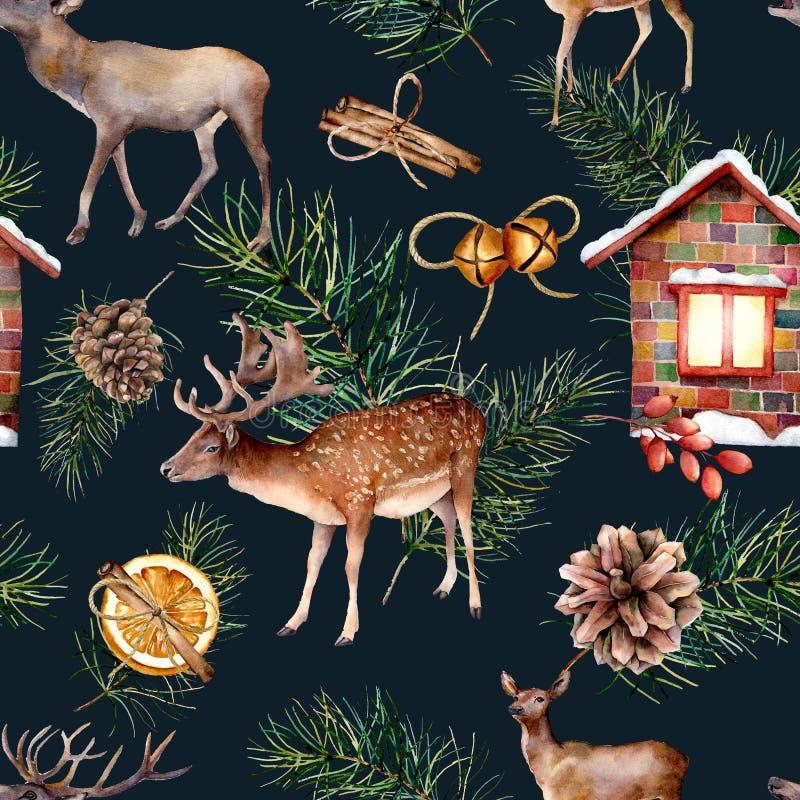 Watercolor scandinavian seamless pattern with deers. Hand painted house, deers, pine branch with cones, orange, cinnamon vector illustration