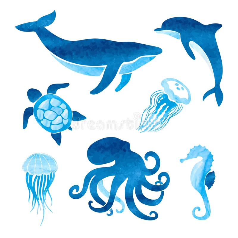 Watercolor sea animals set. Vector marine illustration of whale, dolphin, octopus. Turtle, jellyfish and sea horse vector illustration