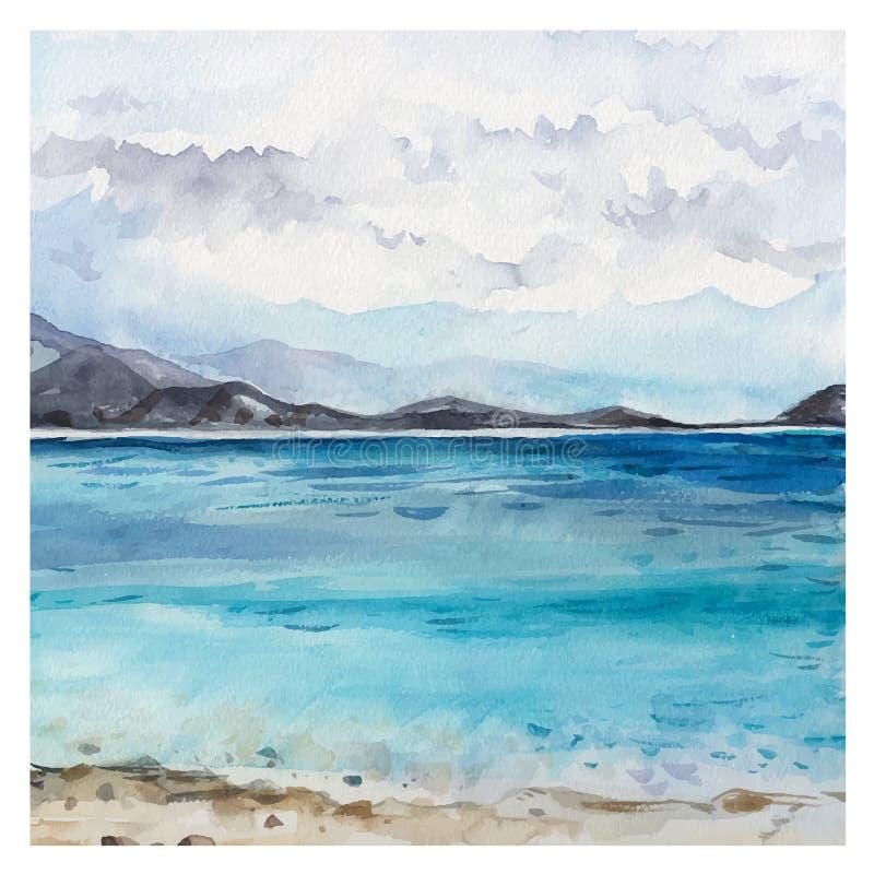 Watercolor Sea background stock illustration