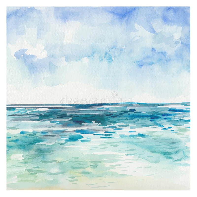 Watercolor Sea background royalty free illustration