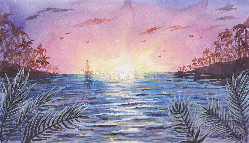 Watercolor Sea / Ocean Landscape with Sunset / Sunrise. Watercolor Sea / Ocean Landscape with Sunset or Sunrise stock illustration