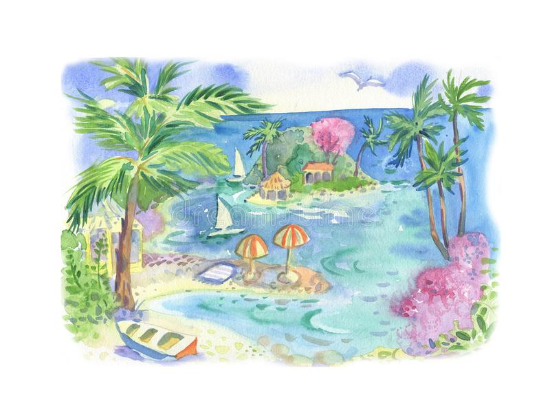 Watercolor with sea, palm tree, boat, flowers. Cwatercolor with sea, palm tree, boat, flowers, hello summer vector illustration