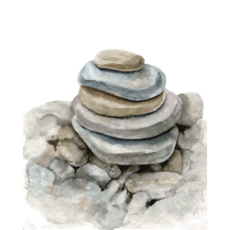 Watercolor sea stones stock illustration