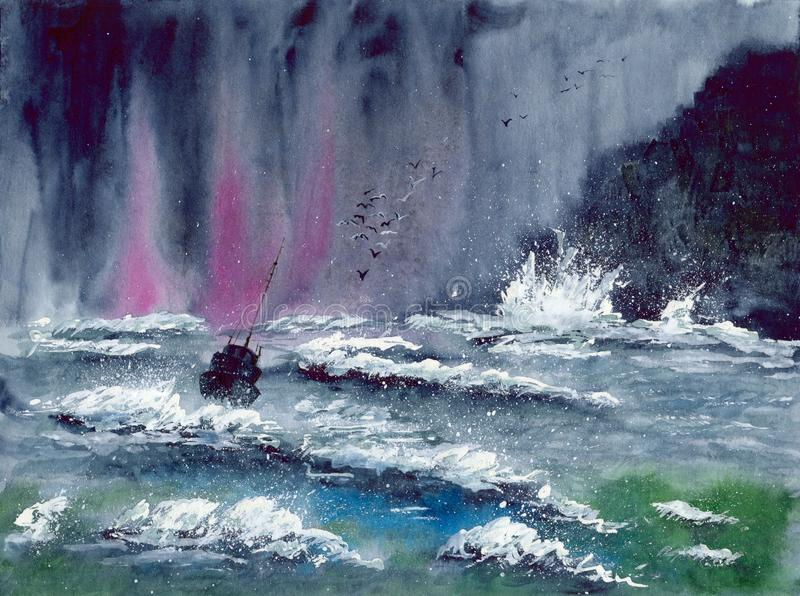 Watercolor sea storm with ship and seagulls royalty free stock image