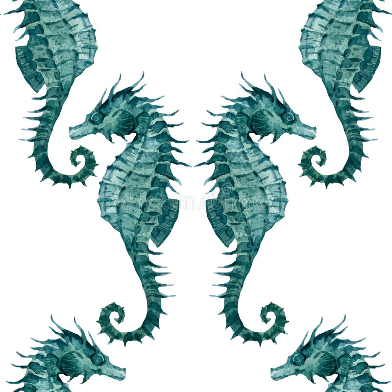 Watercolor seahorse pattern royalty free illustration