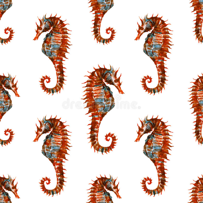 Watercolor seahorse pattern vector illustration