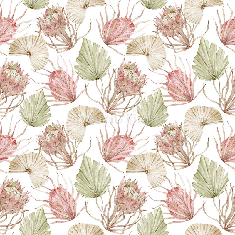 Free Watercolor Seamless Background With Pink Protea Flowers And Dried Palm Tree Leaves. Hand-drawn Exotic Floral Pattern Stock Images - 184145154
